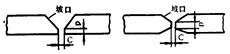 焊接接头处的根高(P)和间隙(C)