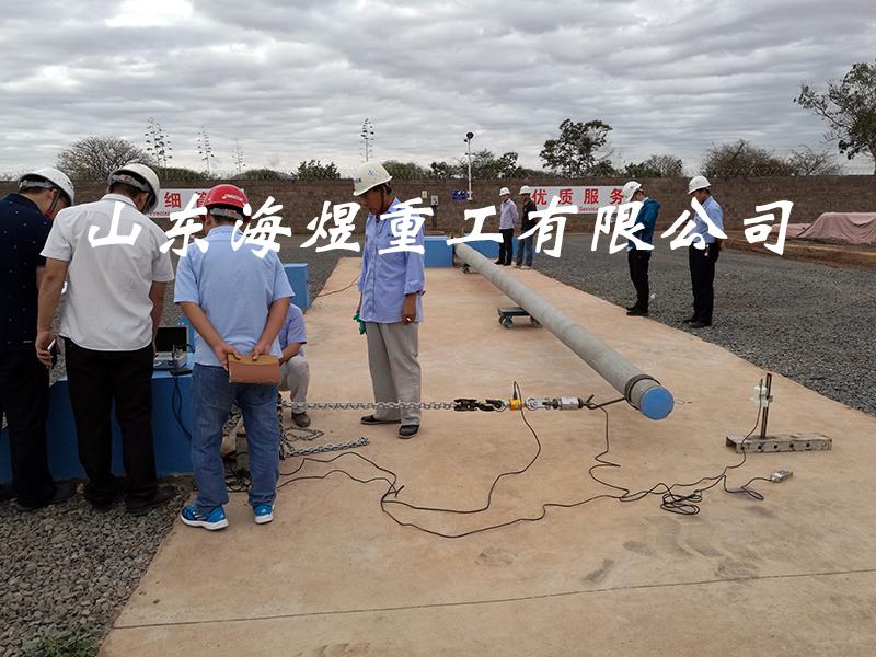 蒙内铁路项目测试钢筋混凝土电杆